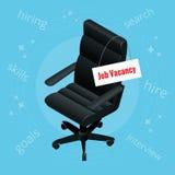Jobbvakans Arbetsgivaren söker efter ett anställdbegrepp Svart vakanta kontorsstol och tecken Rekrytera eller affär Royaltyfri Bild