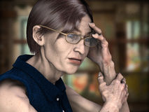 Jobless. 3d rendring a lonely older woman as illustration with background Stock Photography
