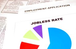 Jobless Rate. Chart with employment application and classified ads in the background Stock Image