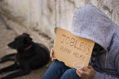 Jobless seek help Royalty Free Stock Photography