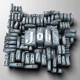 Jobs. The word Jobs written with typescript letters among other characters Royalty Free Stock Photos