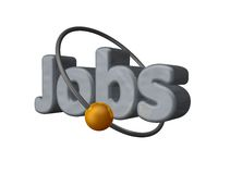 Jobs. Golden ball fly around the word jobs - 3d illustration Royalty Free Stock Images