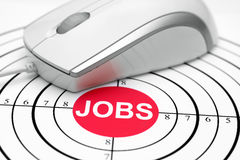 Jobs. Close up of mouse on job target Royalty Free Stock Image