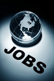 Jobs. Globe, concept of Global Jobs Search royalty free stock images