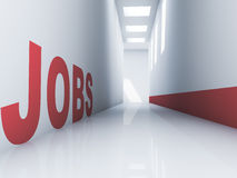 Jobs. Rendering of a red jobs text in a corridor Royalty Free Stock Photos