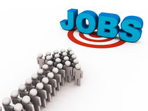 Jobs. Group of people in arrow formation approaching text jobs in 3d on target circle, white background Stock Image
