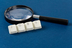 Jobs. Computer keyboard and word jobs, Online Job Searching royalty free stock image