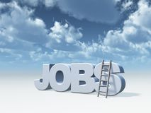 Jobs. The word jobs and a ladder in front of cloudy blue sky - 3d illustration Royalty Free Stock Images