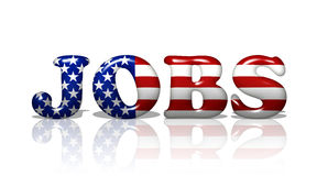 Jobs in America. The word Jobs in the American flag colors, Jobs in America stock photography
