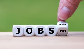 Jobs available? Dice form the word `Jobs` royalty free stock images