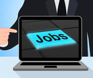 Jobs Button Displays Hiring Recruitment Online Hire Job royalty free illustration