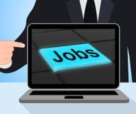 Jobs Button Displays Hiring Recruitment Online Hire Job Stock Photos