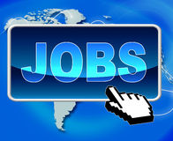 Jobs Button Represents World Wide Web And Work Stock Photo