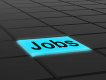 Jobs Button Shows Hiring Recruitment Online Hire Job Royalty Free Stock Images