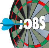 Jobs Career Dartboard Dart Successful Employment. A dartboard with word Jobs and a dart in the bullseye to illustrate succeeding in a job search and landing work Royalty Free Stock Images
