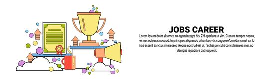 Jobs Career Development Business Concept Horizontal Banner With Copy Space. Flat Vector Illustration Royalty Free Stock Photo