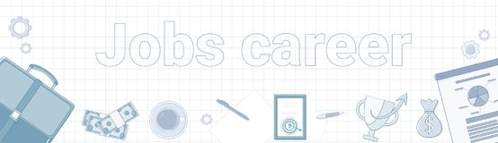 Jobs Career Word On Squared Background Horizontal Banner Personal Development Concept. Vector Illustration Stock Photography