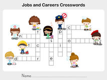 Jobs and Careers Crosswords - Worksheet for education Royalty Free Stock Photo