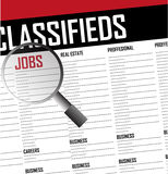 Jobs careers search classifieds background Stock Image