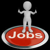 Jobs Computer Button Shows Work And Career Stock Photo