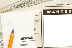 Jobs in der Zeitung Lizenzfreies Stockfoto