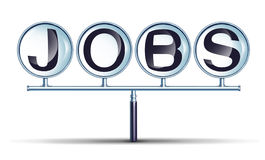 Jobs And Employment. Business concept with a connected magnifying glass group as a network searching for career opportunities as a metaphor for finding a job stock illustration