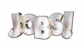 Jobs Employment Career Find Work Word. 3d Illustration Royalty Free Stock Photos