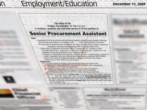 Jobs employment section in newspaper,. Jobs employment section ads Royalty Free Stock Image