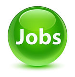 Jobs glassy green round button Stock Images