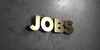 Jobs - Gold sign mounted on glossy marble wall  - 3D rendered royalty free stock illustration. This image can be used for an online website banner ad or a Royalty Free Stock Images