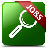 Jobs green square button Royalty Free Stock Photo
