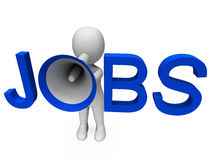 Jobs Hailer Shows Job Ads Recruitment Stock Photo
