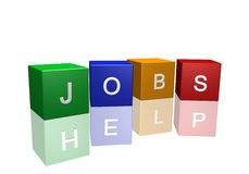 Jobs Help. 3D cubes with the message Jobs Help isolated on a white background vector illustration