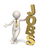 Jobs icon - gold - 3d business man. 3d guy standing near a big gold jobs text - Image on white background with soft shadows - icon Stock Photography