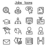 Jobs icon set in thin line style. Illustration Stock Photo