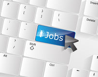 Jobs Keyboard Concept. With glossy blue Enter button Royalty Free Stock Photos
