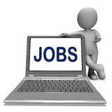 Jobs On Laptop Shows Profession Employment Or Hiring Online Royalty Free Stock Photo