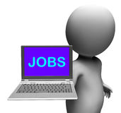Jobs On Laptop Shows Unemployment Employment Stock Images