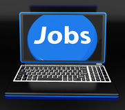 Jobs On Laptop Shows Unemployment Jobless Royalty Free Stock Image