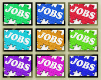 Jobs On Monitors Shows Working Opportunities. And Careers Royalty Free Stock Image