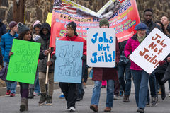 Jobs Not Jails!. Washington, DC - January 16, 2017: People holding signs advocate for better employment opportunities during the Martin Luther King, Jr. Day stock images