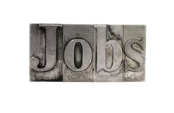 'Jobs' in old metal type Stock Images