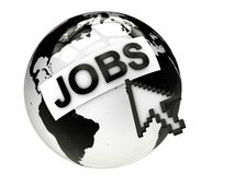 Jobs online concept with planet earth and computer mouse Stock Image
