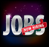 Jobs opening now Hiring red thumbs up advertising job offered and silver sign Royalty Free Stock Photography
