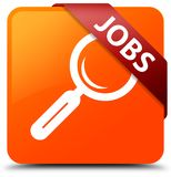 Jobs orange square button red ribbon in corner. Jobs isolated on orange square button with red ribbon in corner abstract illustration Royalty Free Stock Photography