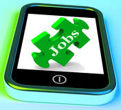 Jobs Phone Shows Unemployment Employment Or Mobile Hiring Stock Photography