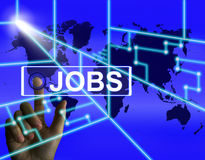 Jobs Screen Represents Worldwide or Internet Career Search Stock Image