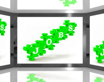 Jobs On Screen Shows Employment Royalty Free Stock Photography