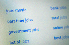 Jobs searching choices. Browsing on the internet Royalty Free Stock Images