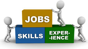 Jobs skills and experience. Concept of work life, words jobs, skills and experience in blocks being put in place by little men Stock Images